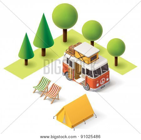 Isometric camper van in the camping