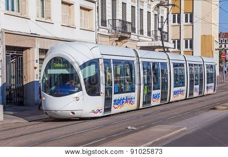 Lyon, France - March 05 2014: The City's Tram Made ??in An Unusual Futuristic Design.