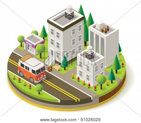 Isometric camper van travel leaving city