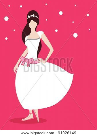 Stylish pose of a young fashionable girl character in beautiful white dress with belt on pink background.