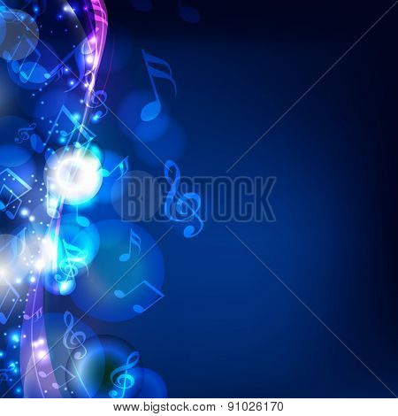 Shiny musical notes on stylish blue background.