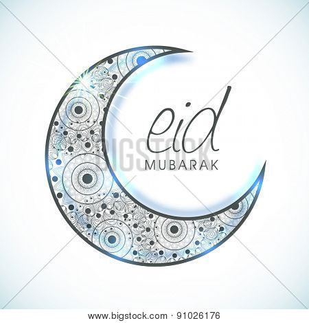 Muslim community festival, Eid celebration with creative floral design decorated crescent moon on shiny background.
