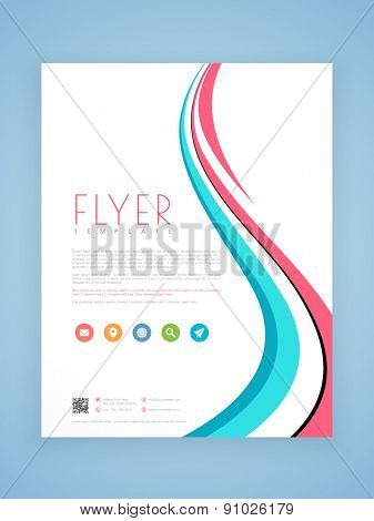 Beautiful professional business flyer, template or brochure design with stylish waves.