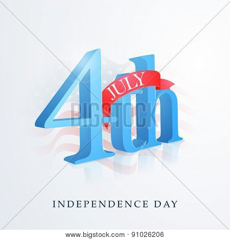3D glossy text 4th of July with red ribbon on national flag waves background for American Independence Day celebration.