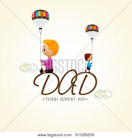 Happy Fathers Day celebrations greeting card design with little kids sat on stylish text Dad.