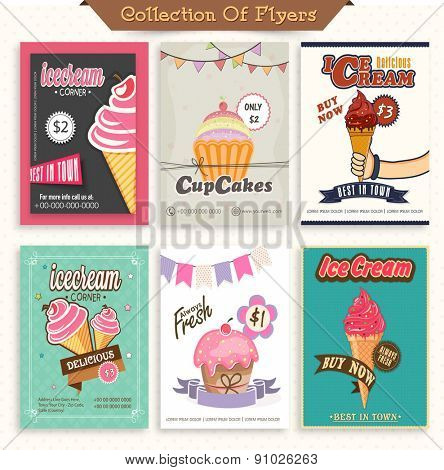 Beautiful menu card set for ice-cream parlours.
