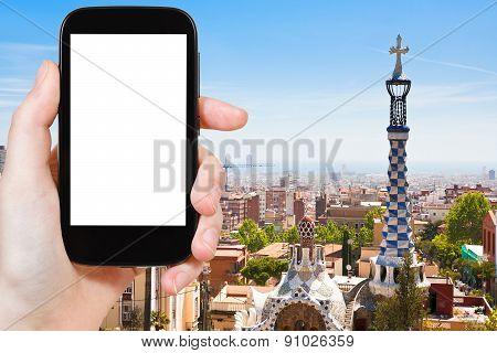 Tourist Photographs Of Skyline Of Barcelona City