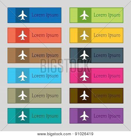 Airplane, Plane, Travel, Flight  Icon Sign. Set Of Twelve Rectangular, Colorful, Beautiful, High-qua