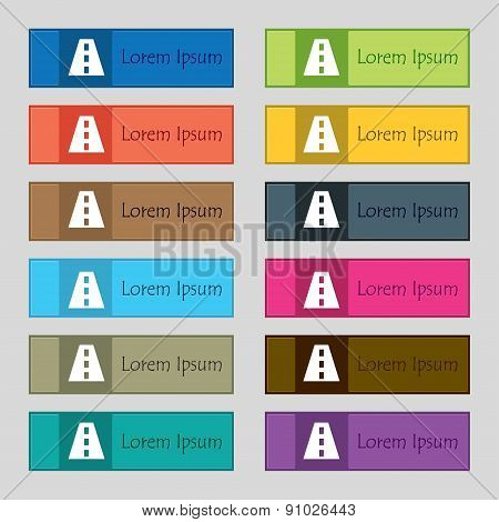 Road  Icon Sign. Set Of Twelve Rectangular, Colorful, Beautiful, High-quality Buttons For The Site.