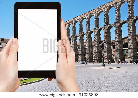 Tourist Photographs Of Aqueduct Of Segovia, Spain