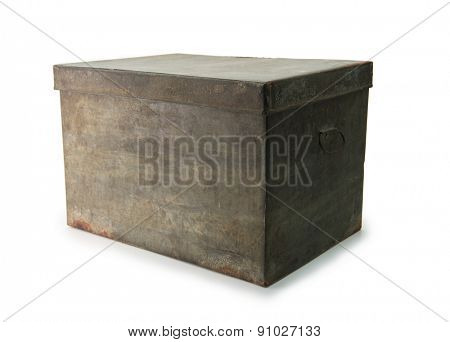Very old iron or tin metal storage trunk or box, isolated on white.