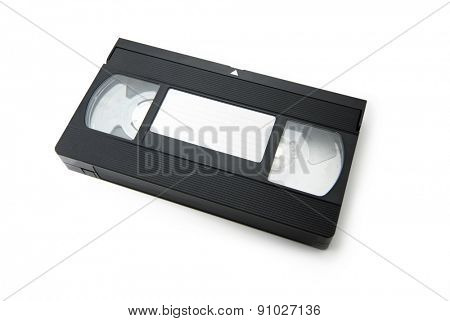 VHS Video cassette tape isolated on white. top view with blank label.
