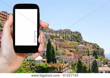 Tourist Photographs Of Taormina Resort City, Italy