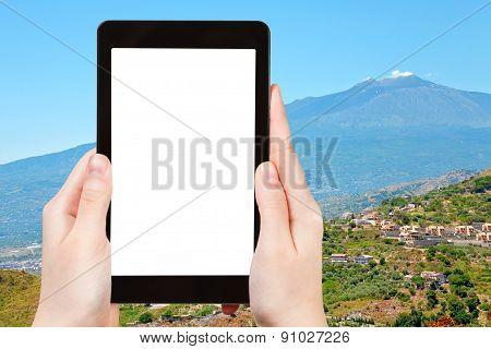 Photo Etna Volcano And Gardens On Sicilian Hills