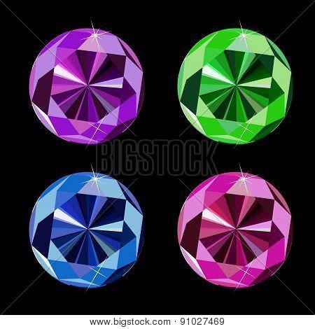 Abstract Luxury Diamond Set Vector Illustration