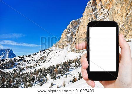 Photo Of Slope Dolomites Mountain In Val Gardena