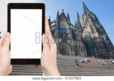 Tourist Photographs Cologne Cathedral, Gernany