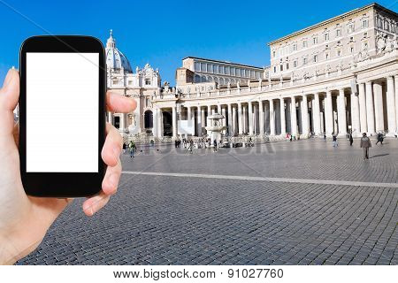 Tourist Photographs St Peter Basilica In Vatican