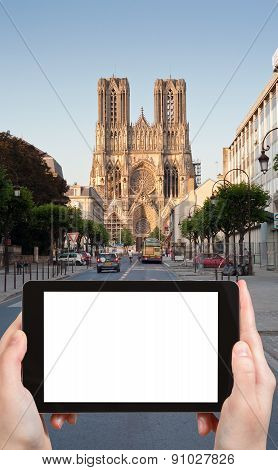Tourist Photographs Of Cathedral In Reims, France