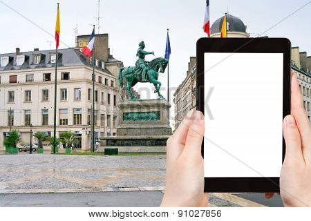 Tourist Photographs Monument Joan Of Arc Orleans