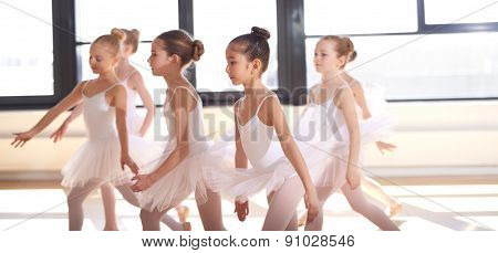 Group Of Young Ballerinas Performing