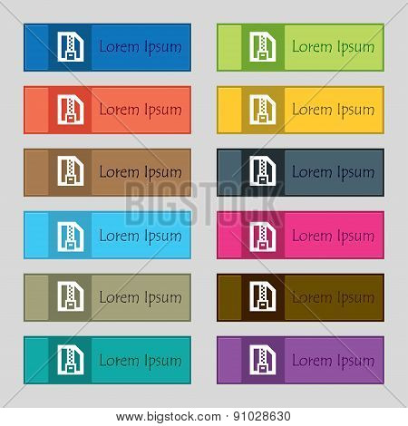 Archive File, Download Compressed, Zip Zipped  Icon Sign. Set Of Twelve Rectangular, Colorful, Beaut
