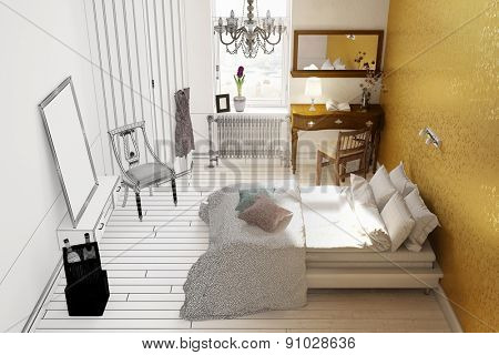 CAD room planning of bedroom from wiremesh frame to 3D Rendering