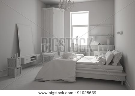 White bedroom with red and different furnitures (3D Rendering)