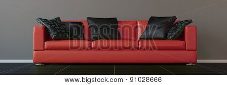 Modern red sofa with black pillows in a living room (3D Rendering)