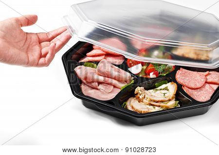 Hand Opening Meat Buffet Box Catering