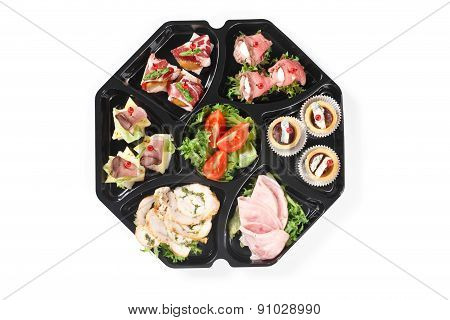 Top View Of Buffet Box Catering With Canape