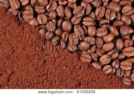 Coffee Beans And Ground Texture