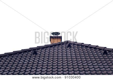 Orange Chimney On Tiled Roof With Isolated Sky