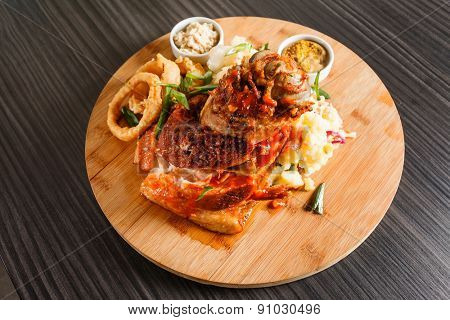 meat with salad