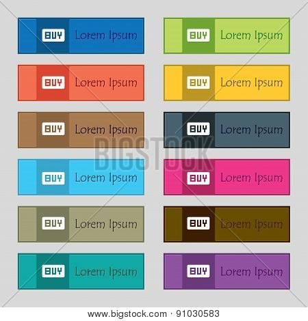 Buy, Online Buying Dollar Usd   Icon Sign. Set Of Twelve Rectangular, Colorful, Beautiful, High-qual