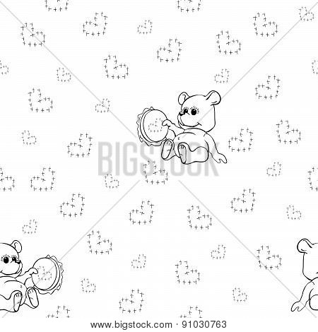 Seamless pattern with embroidering Teddy Bear toy