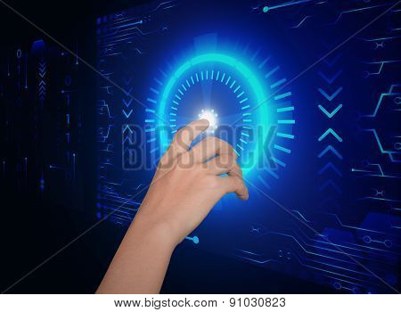 Hand Click On Button Security Future Technology Concept