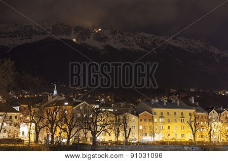 City In The Mountains At Night