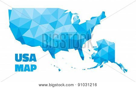 Abstract USA Map - vector illustration - geometric