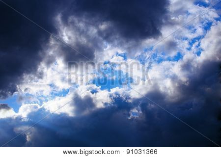 Blue Sky With Stormy dark Clouds