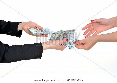 Money In Human Hands Isolated On White Background. Transfer Of Money
