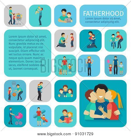 Fatherhood Flat Icons Set