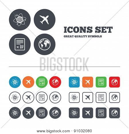 Airplane icons. World globe symbol.