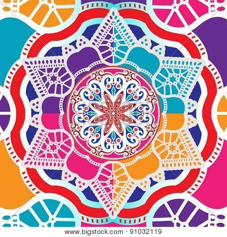 Mandala background.and elements - layered  Hand drawn background