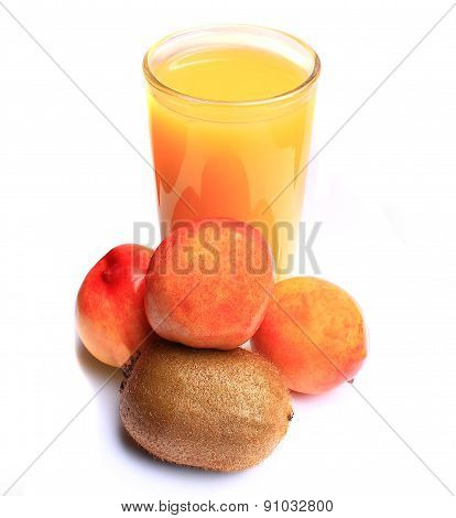 A Delicious Juice From Fresh Nectarines, Made Of Summer Treats, Rich In Vitamins