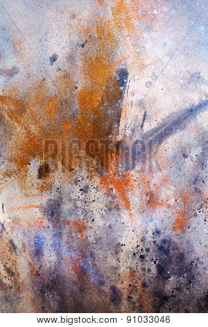 Bird  Feathers, Black, Gold, White Color Background On Paper, Rust Effect