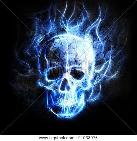Skull Fractal Ornament Background Crackle Desert Effect.