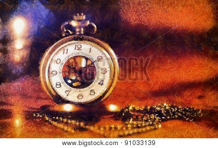 Vintage Pocket Watch Near Few Lighting Candles On Dark Background