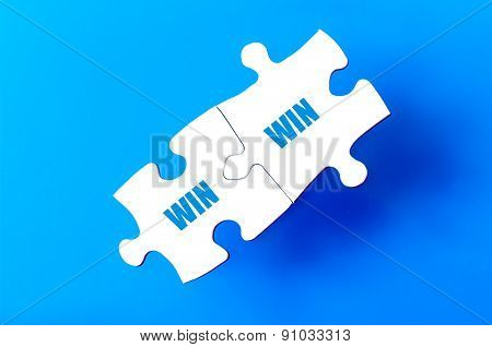 Connected Puzzle Pieces With Words Win And Win