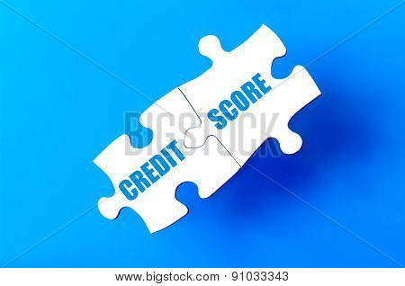 Connected Puzzle Pieces With Text Credit Score